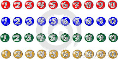Colored buttons with numbers