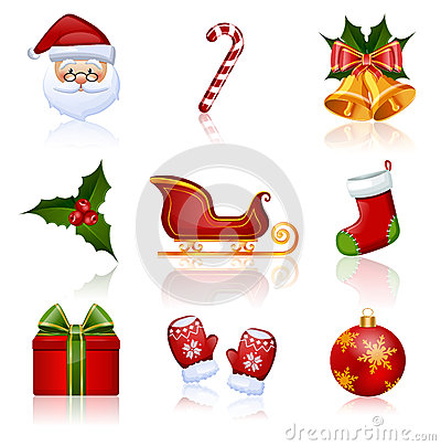Free Colored Christmas And New Year Icons. Vector Illus Royalty Free Stock Photos - 34579758