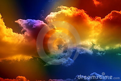 Colored clouds.