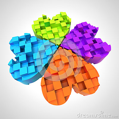 Colored cloverleaf in three dimensional composition