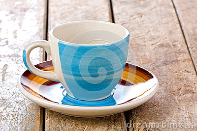 Colored Coffee Cup with Saucer