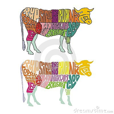 Colored cow parts