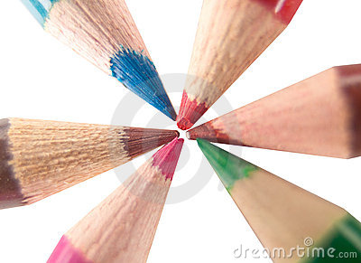 Colored crayon pencils