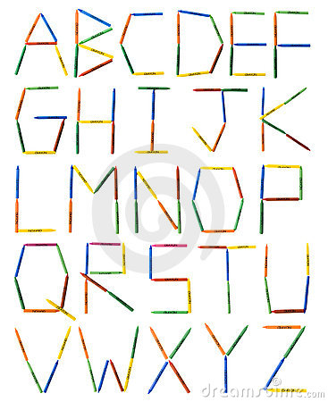 Colored Crayons Alphabet