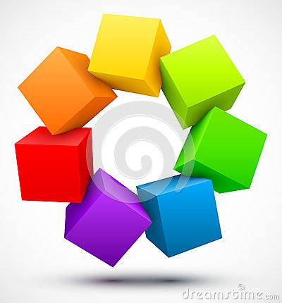 Free Colored Cubes 3D Stock Photography - 26218322