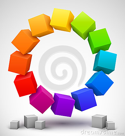 Free Colored Cubes 3D Stock Images - 27264944