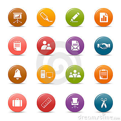 Free Colored Dots - Office And Business Icons Stock Image - 19297091