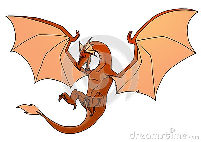 Colored dragon isolated on white background. Hand drawing illustration Cartoon Illustration