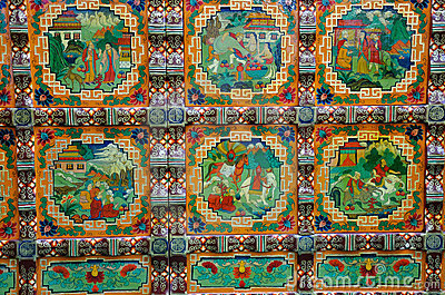 Colored drawing lacquer of Tibet tradtional style