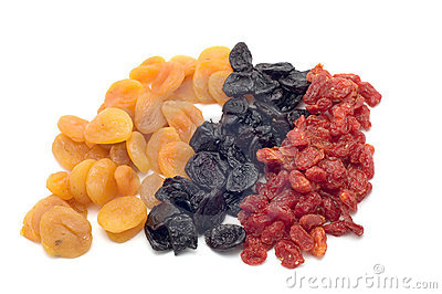 Colored dried fruits