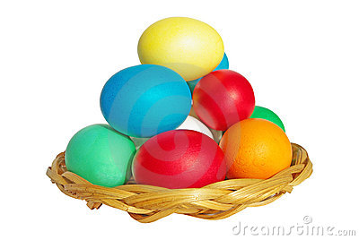 Colored Easter eggs on a plate isolated