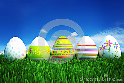 Colored Easter eggs in a row