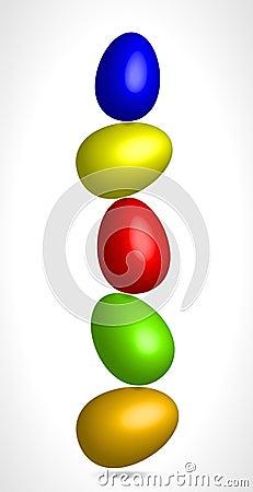 Colored eggs balancing in equilibrium