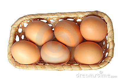 Colored eggs in basket.
