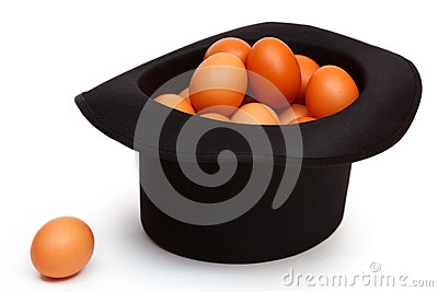 Colored eggs in the hat