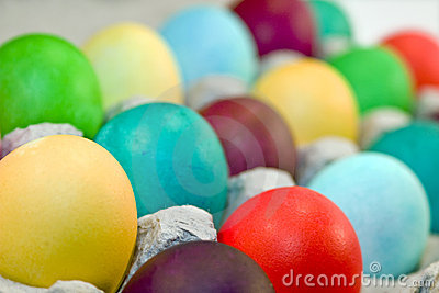 Colored Eggs in Carton