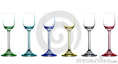 Colored empty liquor glasses