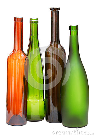 Colored empty open wine bottles isolated stock photo for Where to buy colored wine bottles