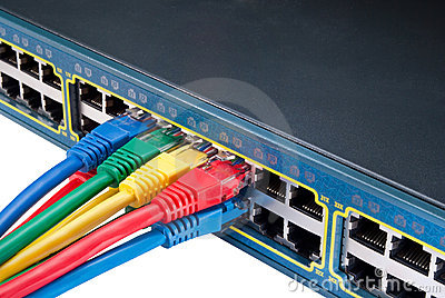 Colored Ethernet Network Cables and Switch