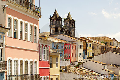 Colored facades in el pelourinho de salvador