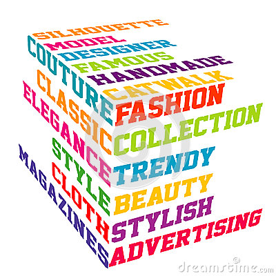 Colored Fashion cube typography terms