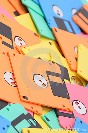 Colored floppy disk background