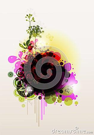 Colored floral frame