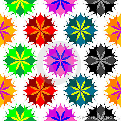 Colored flowers seamless pattern 2
