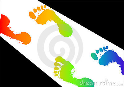 Colored footsteps in light