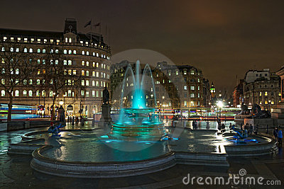 Colored fountain at Trafalgar square