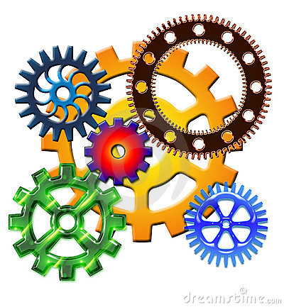Colored gears on white background