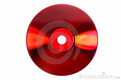 Colored glares on red CD/DVD isolated on white