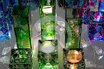 Colored glass decorations