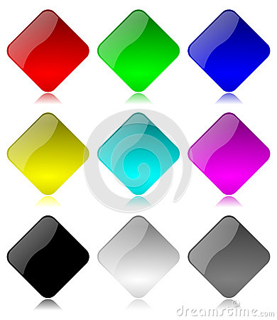 Colored and glossy rhombus buttons set