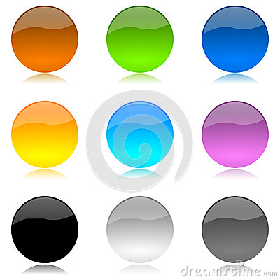 Colored and glossy rounded buttons set