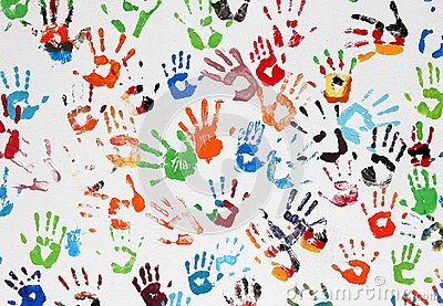 Colored hand prints