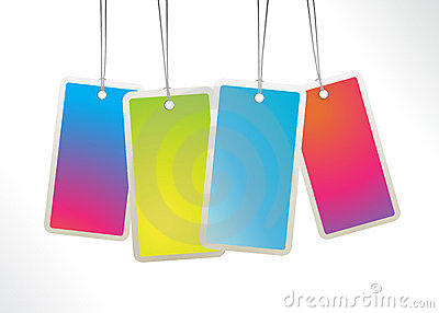 Colored hanging labels.