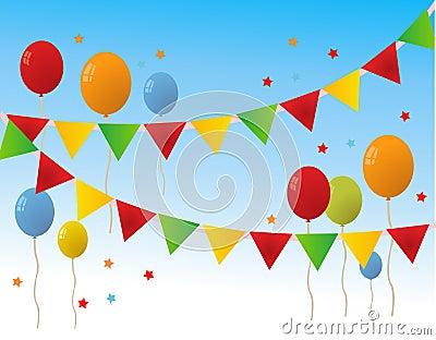 Colored Happy Birthday Balloons Banner Vector Illustration