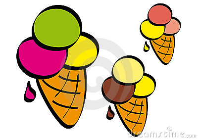 Colored ice cream cone