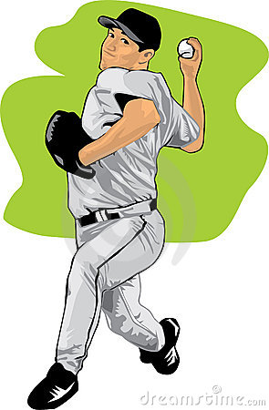 Free Colored Illustration Of A Baseball Pitcher Royalty Free Stock Images - 15965659