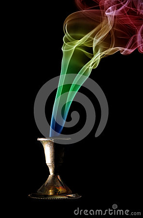 Colored incense smoke