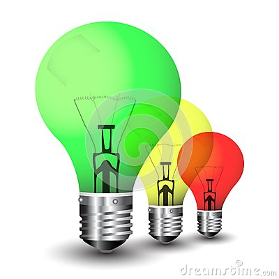Colored light bulbs in multitude