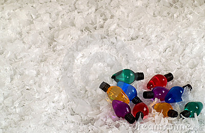 Colored light bulbs in snow