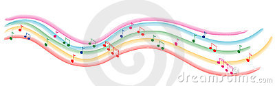 Colored line of music