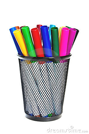 Free Colored Markers In A Cup. Royalty Free Stock Images - 20438399