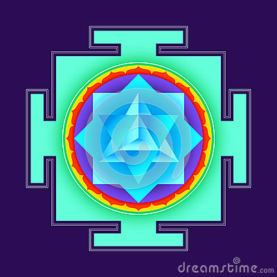 Colored merkaba yantra illustration
