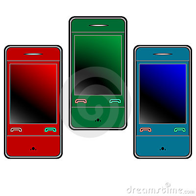 Colored mobile phones against white