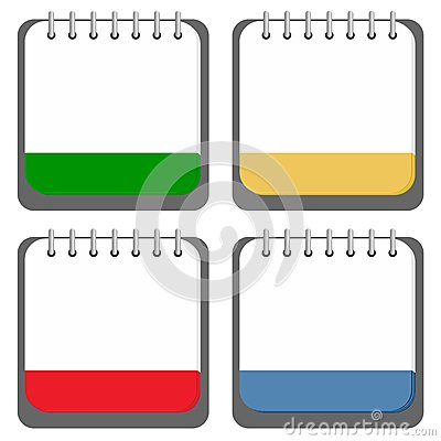 Colored Notebook Icons Set