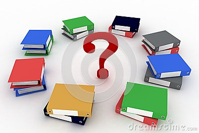 Colored office ring binders  with question-mark