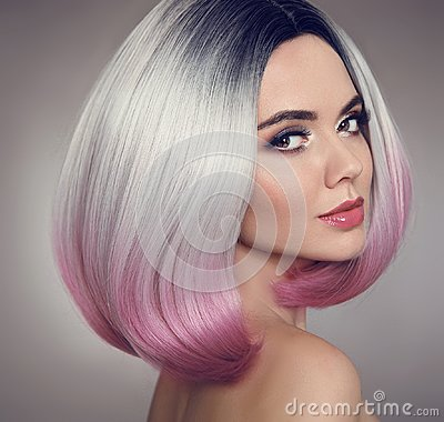 Free Colored Ombre Bob Hair Extensions. Beauty Makeup. Attractive Mod Royalty Free Stock Image - 110394396